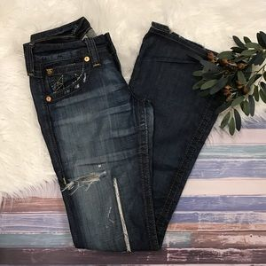 True Religion Low Rise Distressed Flare Jeans. 28